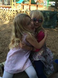 Adair and Avery hugging
